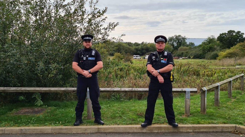 Police officers at Pineham Locks