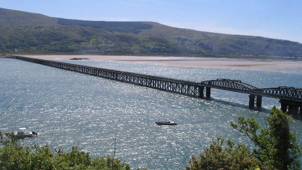 Barmouth Bridge railway viaduct in Gwynedd