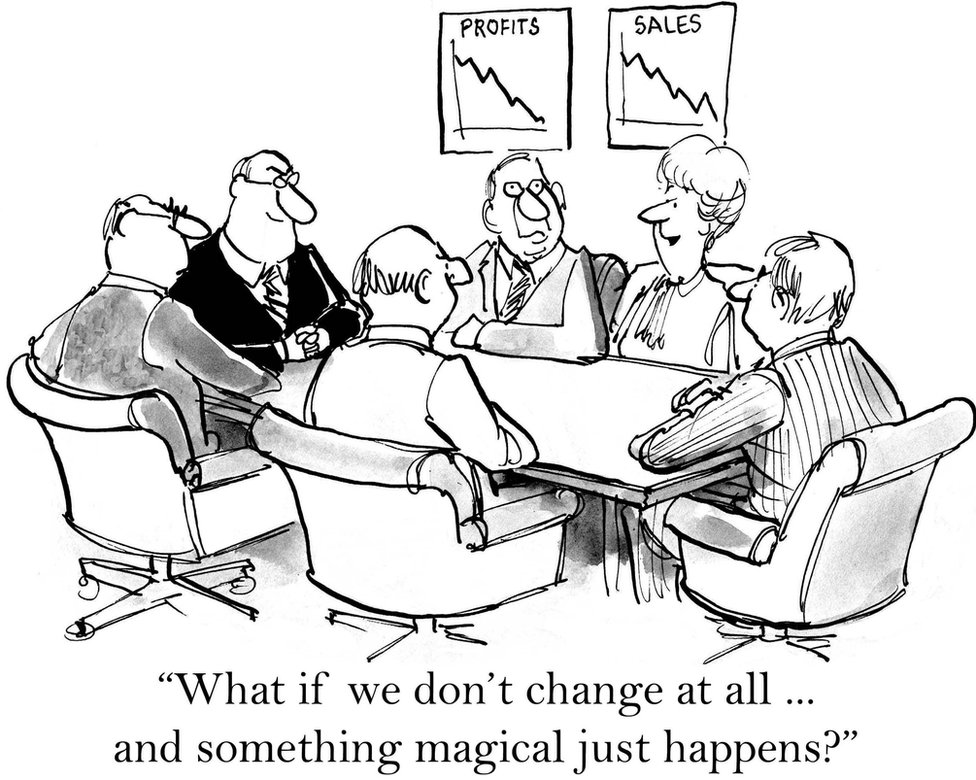 """""""What if we don't change at all..and something magical just happens?"""" Cartoon"""