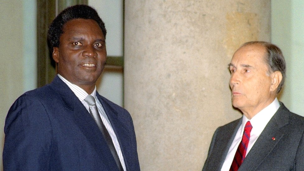 1990 file picture of Rwandan President Juvenal Habyarimana in Paris with French President François Mitterrand