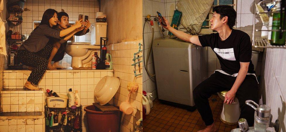 Kupatilo Kimovih u Parazitu (levo) veran je prikaz kako živi Oh (desno)