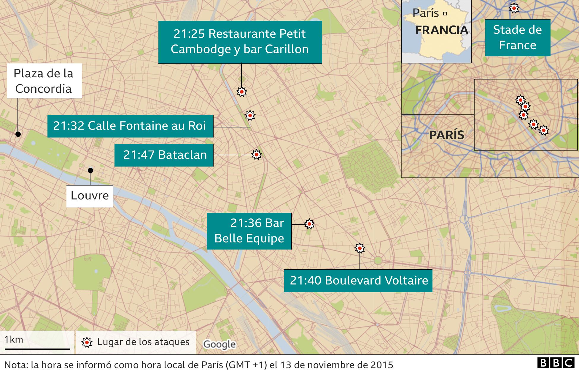 Mapa de París donde ocurrieron los ataques.