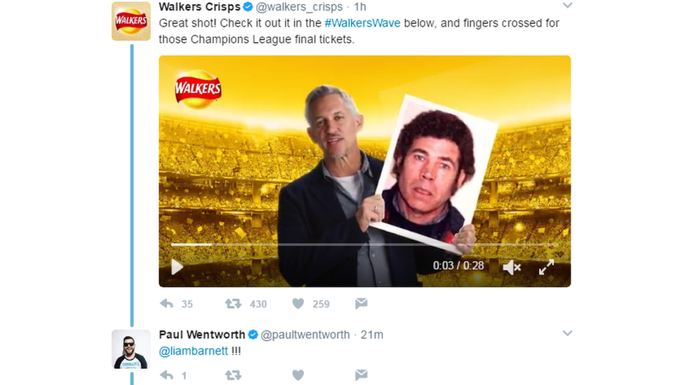 Walkers Crisps twitter video gone wrong