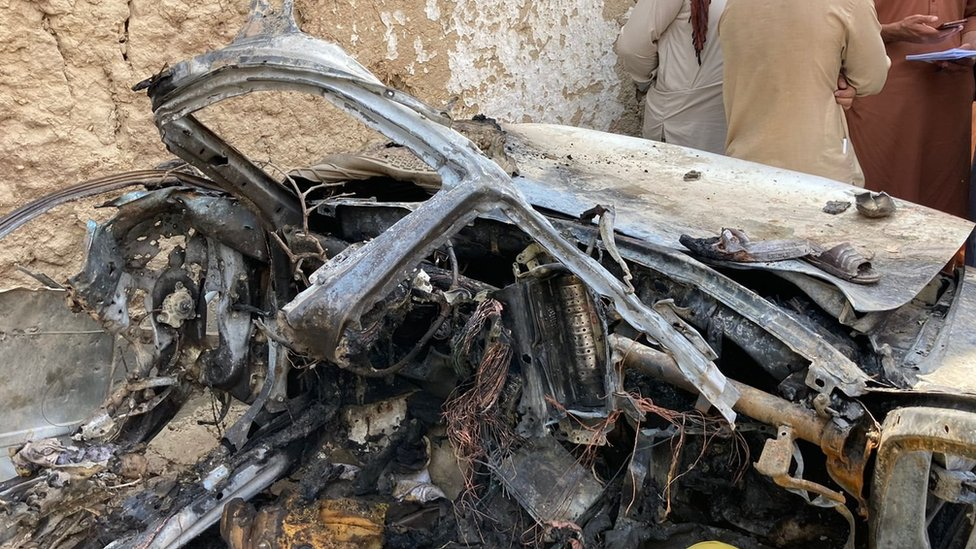 The destroyed car