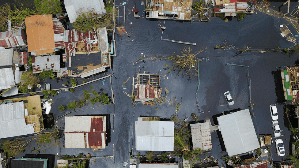 Aerial image of Catano, Puerto Rico on 22 September 2017