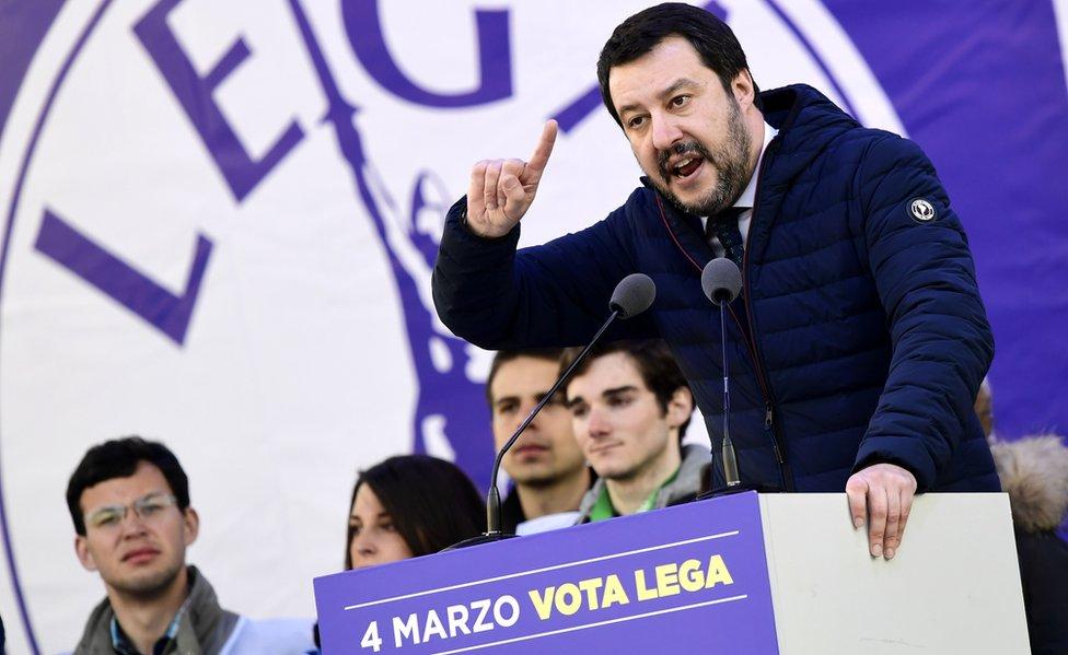 Matteo Salvini addressing a League rally in Milan, 24 Feb 18