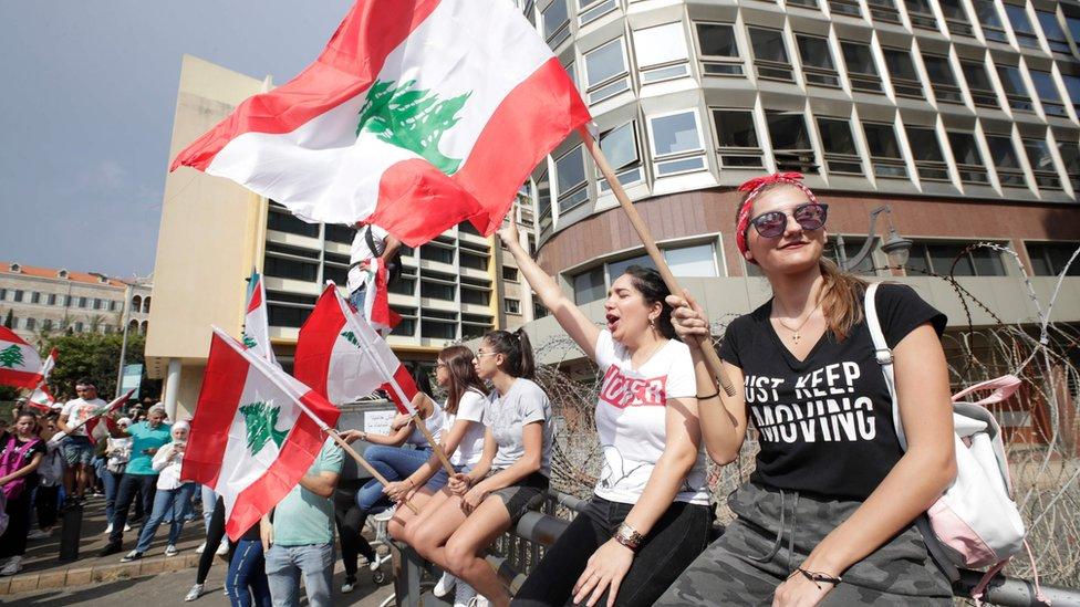متظاهرات لبنانيات