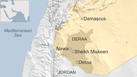 Map of Syria showing location of Sheikh Miskeen