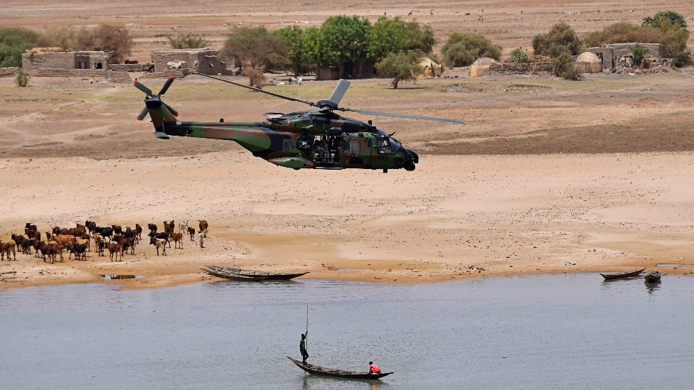 A French helicopter flying over Gao, Mali - 2017