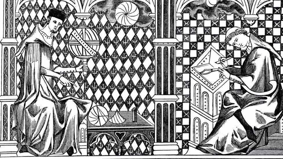 Bir rahibin yerküreyi öğrettiğini, diğerinin ise el yazması yazdığını gösteren bir Ortaçağ ilüstrasyonu