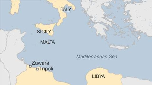 Map showing Libya, Italy, Malta and Sicily