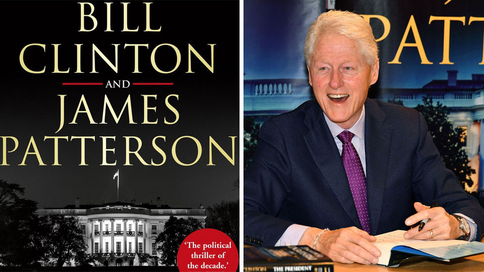 Bill Clinton's book and image of him signing it