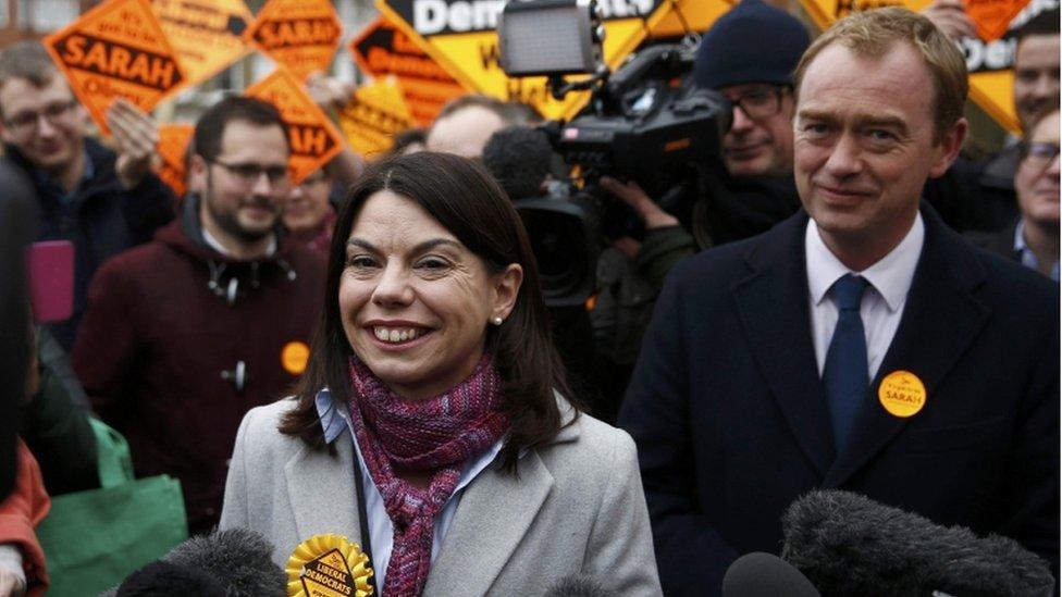 Sarah Olney and Lib Dem leader Tim Farron