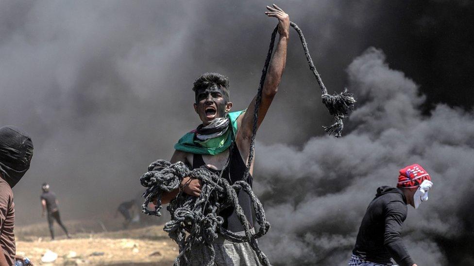 Palestinski demonstrant u Gazi