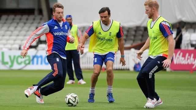 England cricket team play football