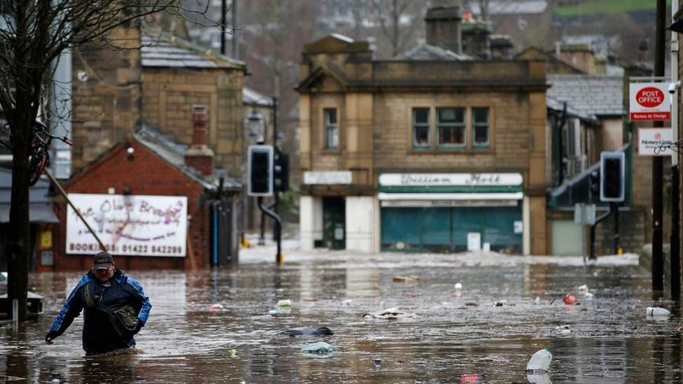 Street in Hebden Bridge during the recent flooding