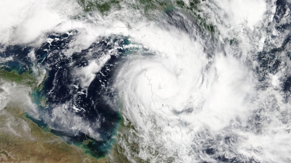 A satellite image of Cyclone Trevor as it approached the coast of Queensland