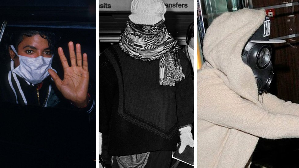 Michael Jackson usando uma máscara cirúrgica e acenando de um carro; Boy George chegando a um aeroporto com um lenço enrolado na cabeça; Justin Bieber em uma máscara de gás