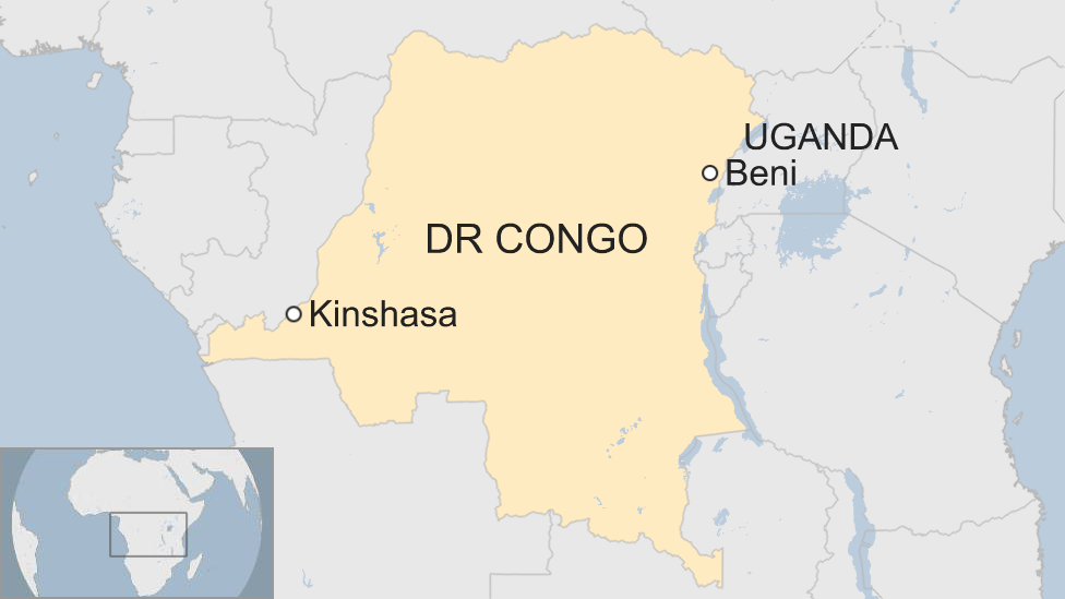 map of Democratic Republic of Congo, showing capital Kinshasa and location of affected town, Beni