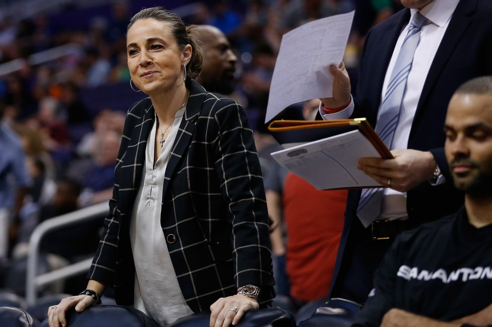 Assistant coach Becky Hammon of the San Antonio Spurs