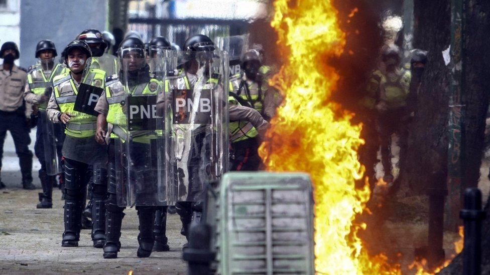 Protesters clashed with the police on Thursday during protests in Caracas