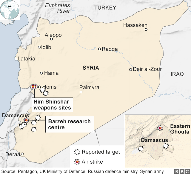 Map showing where strikes hit in Syria