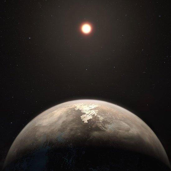 Ilustración artística del exoplaneta Ross 128 y su estrella enana roja