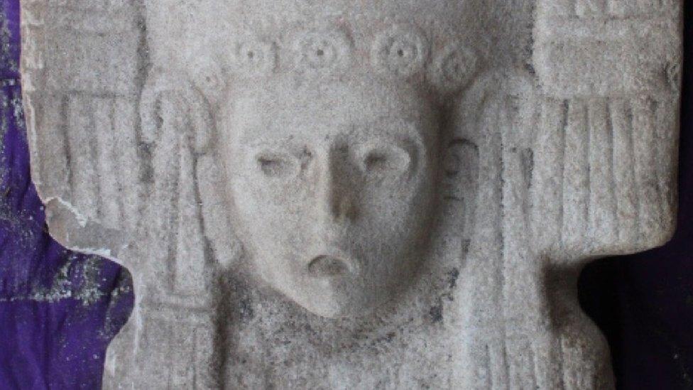 """Fragmento de la escultura de """"la joven de Amajac"""""""