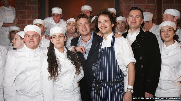 Jamie Oliver with apprentices