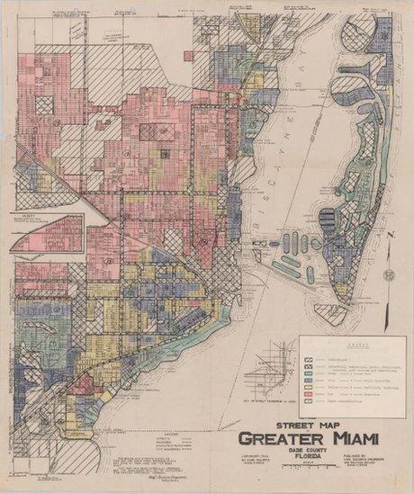 "Mapa de ""redlining"" en Miami en 1934."