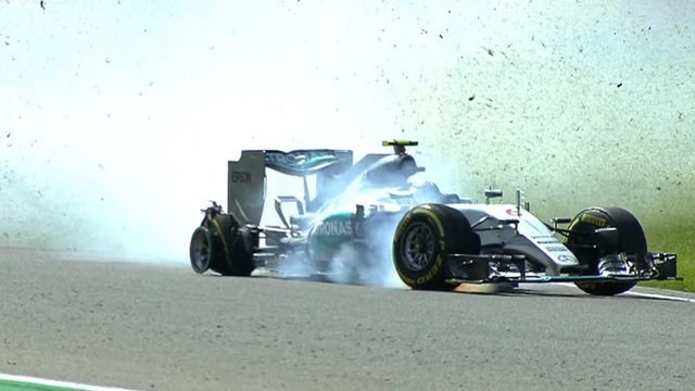 Nico Rosberg suffers a dramatic tyre failure during second practice for the Belgian Grand Prix
