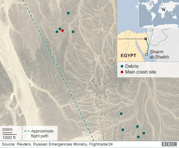 Map showing crash site and where debris has been found