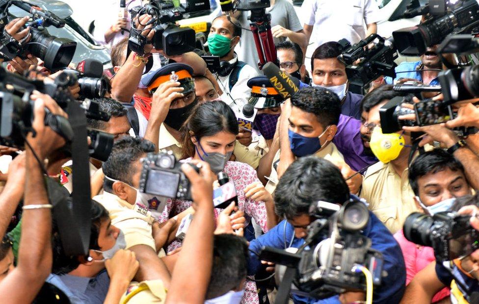Rhea Chakraborty reached NCB office from her residence at Juhu Tara road, on September 6, 2020 in Mumbai, India.