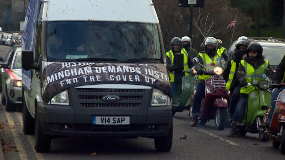The convoy begins, led by a van