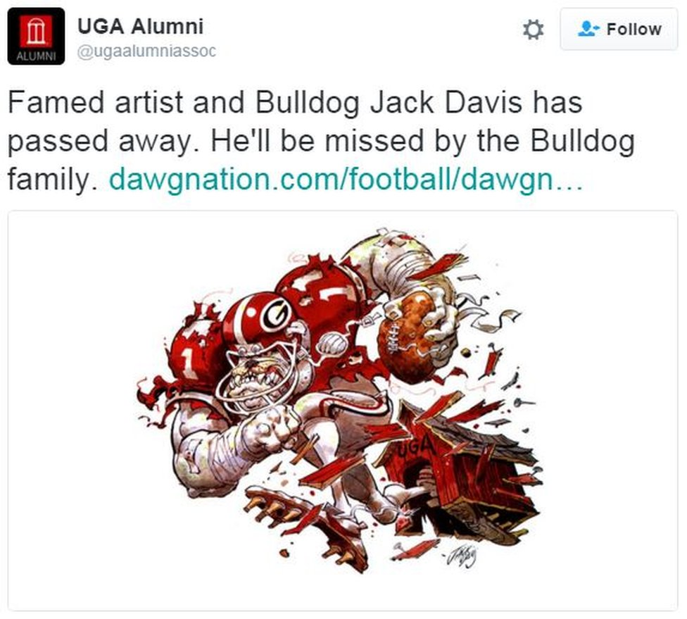 UGA Alumni: Famed artist and Bulldog Jack Davis has passed away. He'll be missed by the Bulldog family.