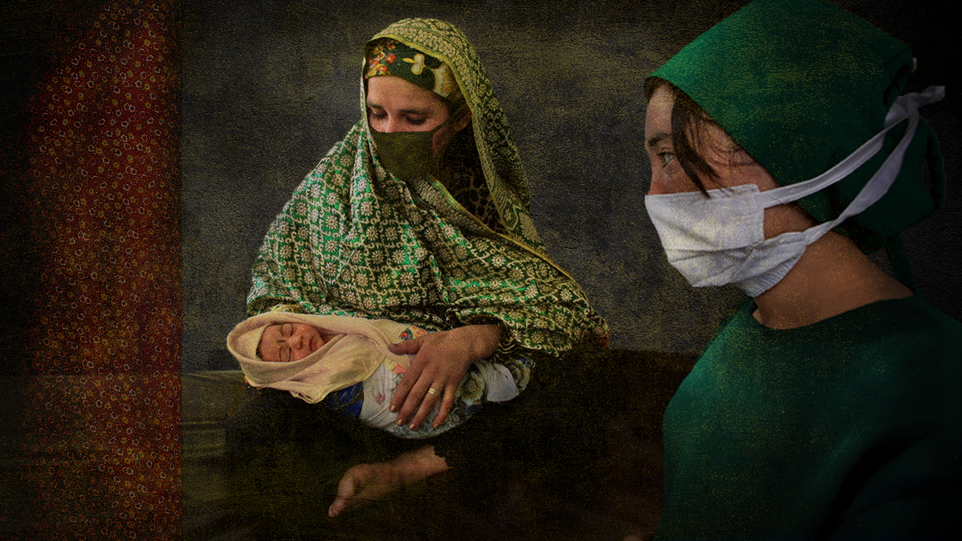 Afghan mother and baby with doctor, illustration