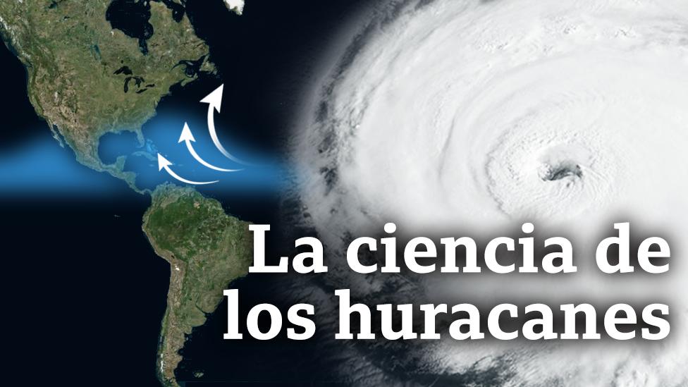 Montaje con un huracán y un mapa de América