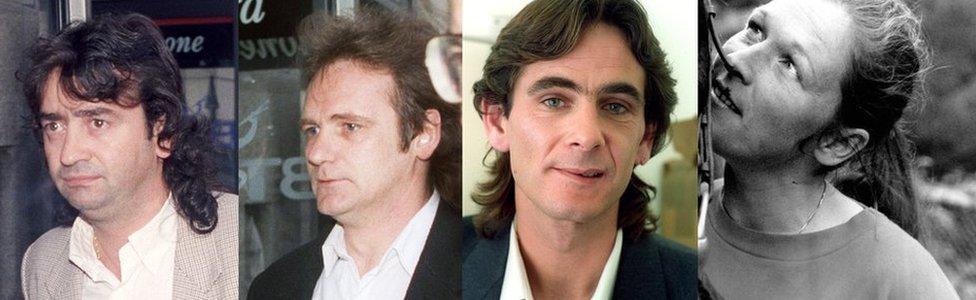 (L-R) Gerry Conlon (1991), Patrick Armstrong (1991), Paul Hill (1989), Carole Richardson (1989)