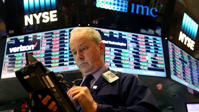 Trader at US stock exchange