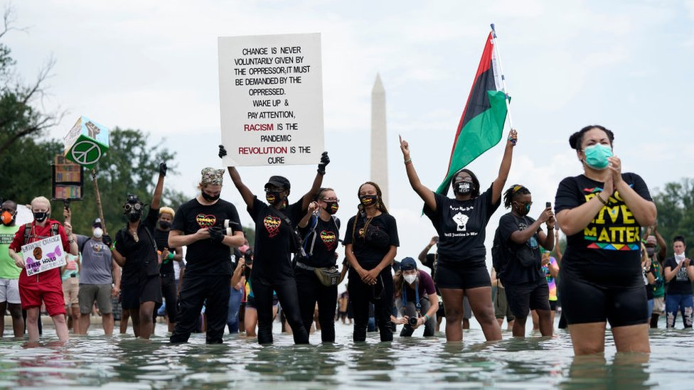 Protesters hold signs from inside the Lincoln Memorial Reflecting pool during the 2020 March on Washington