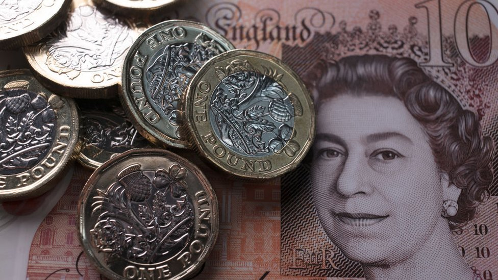 Pound note and coins