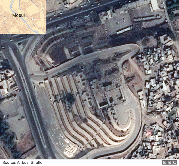 Satellite image showing damage to the Mosque of Prophet Yunus