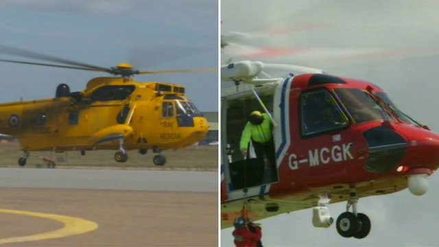 RAF Valley Sea King and the new Bristow Sikorsky taking over search and rescue operations over Snowdonia