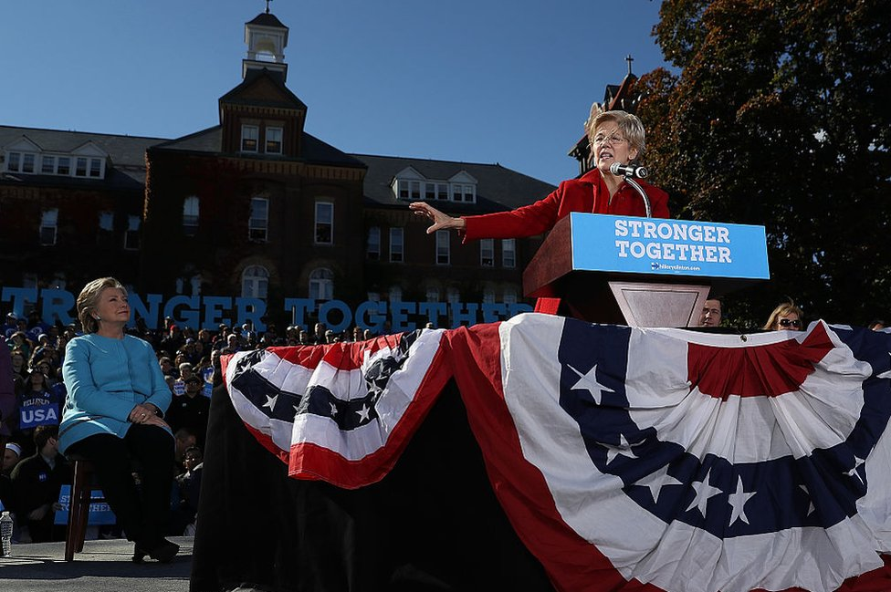 Warren and Clinton campaigning together