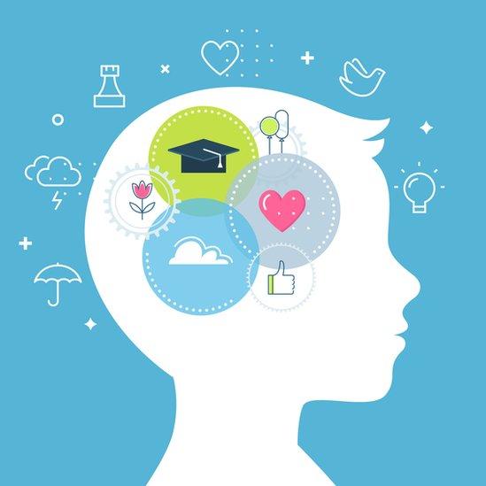 Ilustración cerebro de un niño.