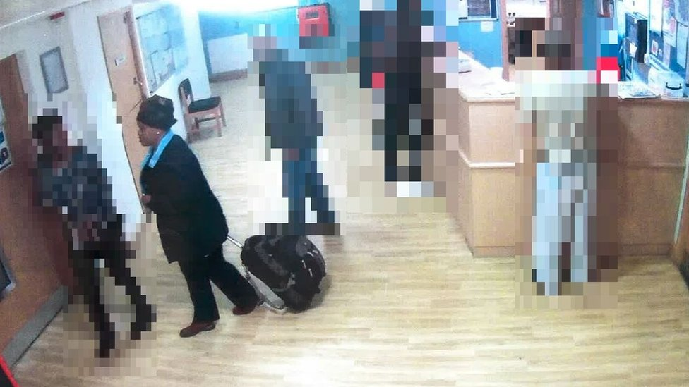 Msokeri captured on CCTV while checking her 'husband' into a mental health ward
