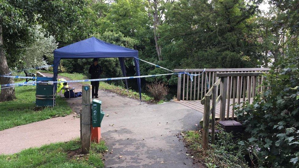 The police cordon near where the bones were found