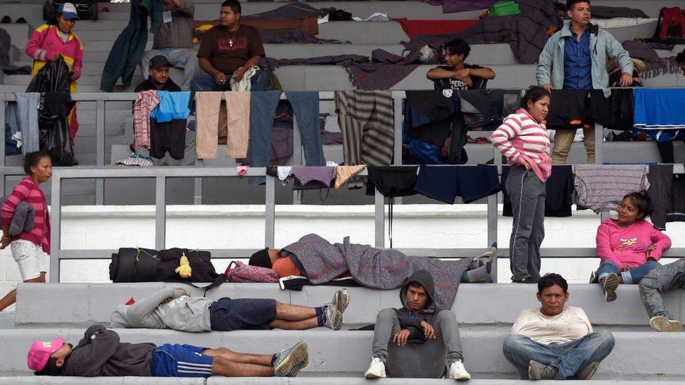 Integrantes de la caravana de migrantes centroamericanos