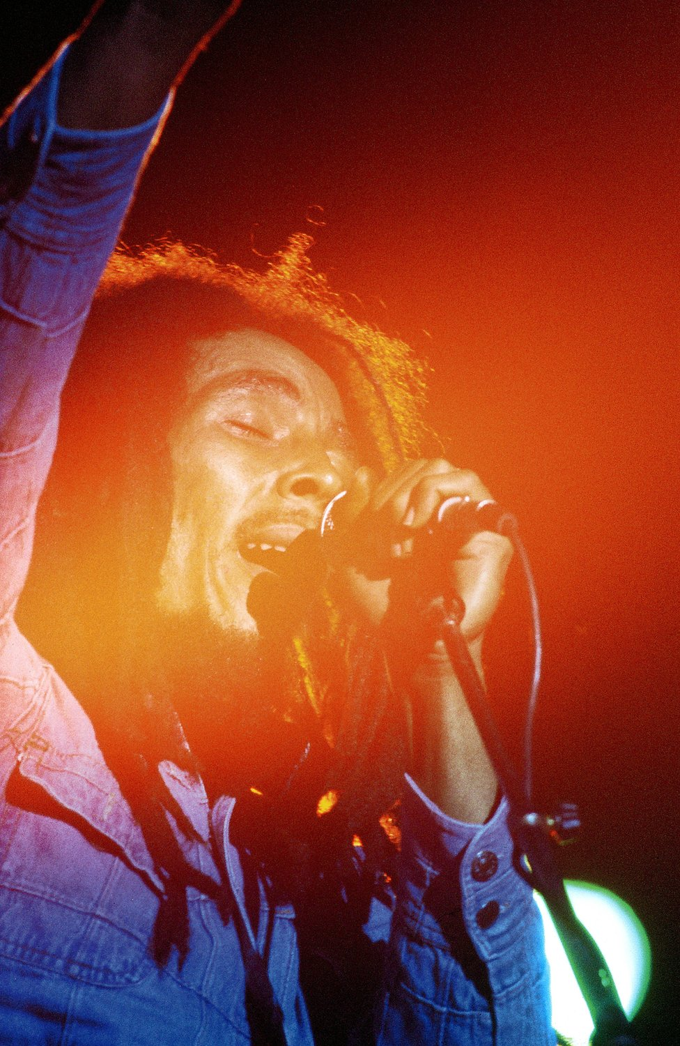 Bob Marley performing on stage in the US in 1979