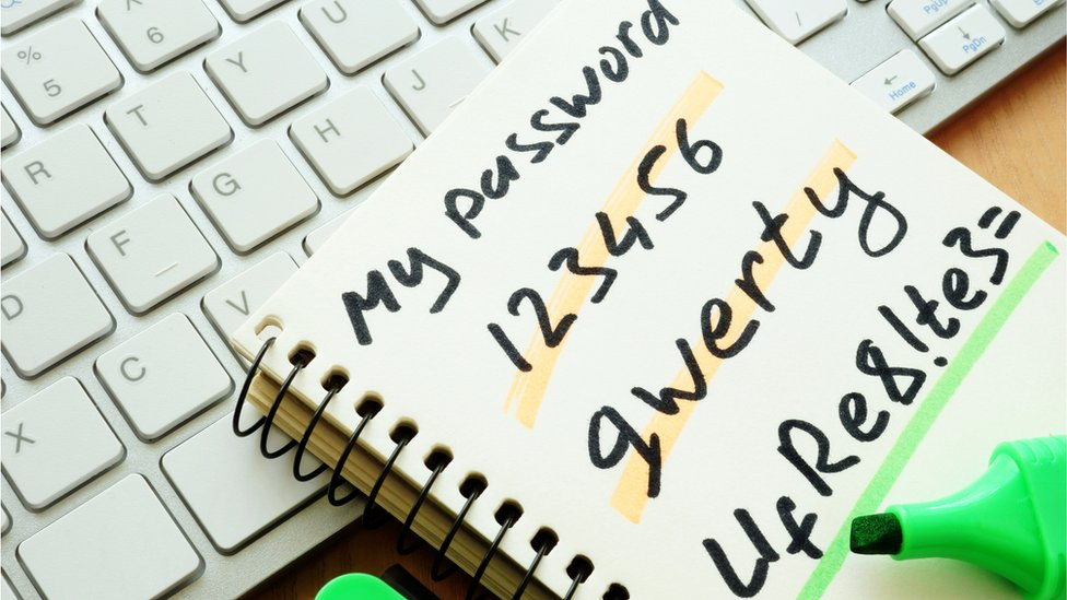 Pad with written passwords on it